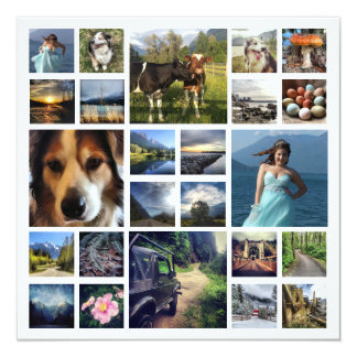 Family Letter with 24 Photos throughout Year 13 Cm X 13 Cm Square Invitation Card