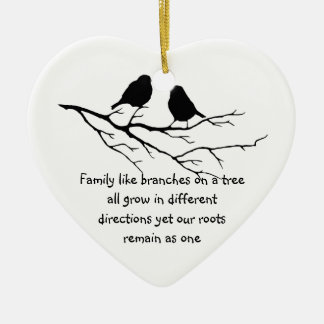 Family like branches on a tree Saying Birds Ceramic Heart Decoration