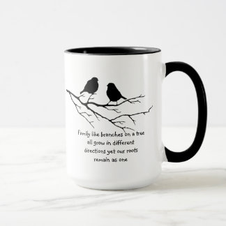 Family like branches on a tree Saying Birds Mug