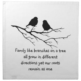 Family like branches on a tree Saying with Birds Napkins