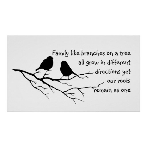 Family like branches on a tree Saying with