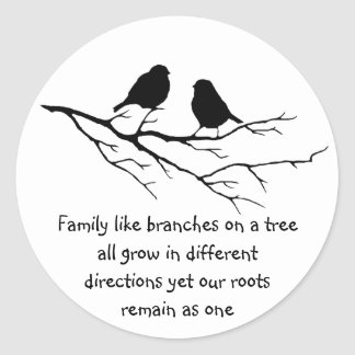 Family like branches on a tree Saying with Birds Classic Round Sticker