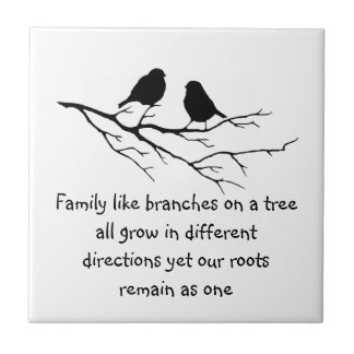 Family like branches on a tree Saying with Birds Small Square Tile