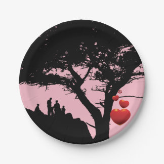 Family Love Family Tree  Heart Tree pink red black Paper Plate