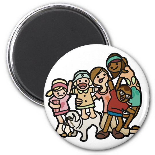 family magnetism. 6 cm round magnet