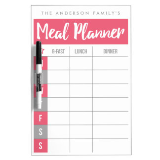 Family Meal Planner | Pink | Custom Name Dry-Erase Whiteboard