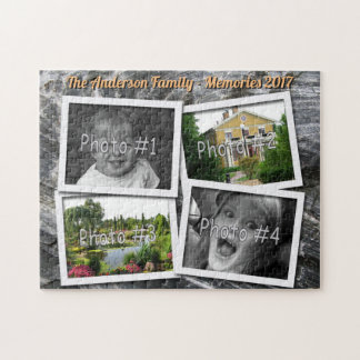 Family Memories 4 x Custom Photos Challenge Rock Jigsaw Puzzle