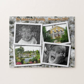 Family Memories 4 x Custom Photos on Granite Rock Jigsaw Puzzle