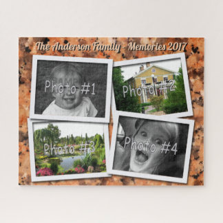 Family Memories 4 x Custom Photos on Orange Rock Jigsaw Puzzle