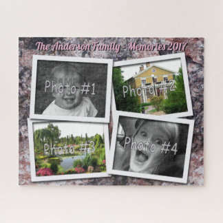 Family Memories 4 x Custom Photos on Pink Rock Jigsaw Puzzle