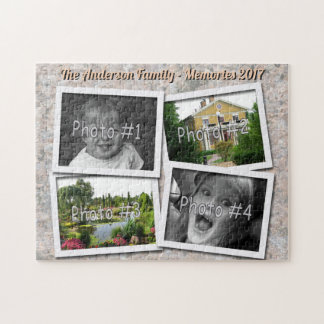Family Memories 4 x Custom Photos on Rock Texture Jigsaw Puzzle