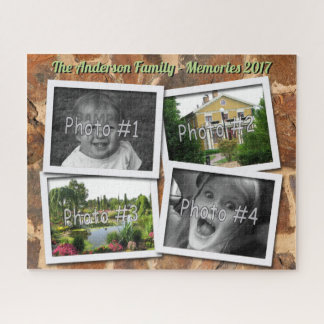 Family Memories 4 x Custom Photos Stonewall Jigsaw Puzzle
