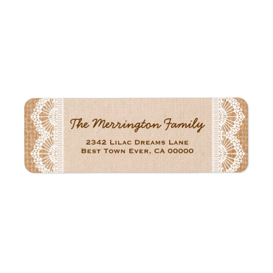 Family Monogram with Burlap and Lace V02 Return Address Label