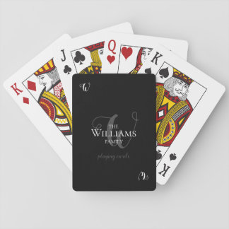 family monogrammed black playing cards