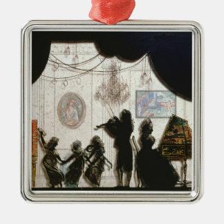Family Musical Scene, silhouette (black paint on g Christmas Ornament