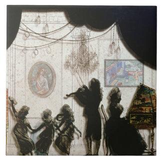 Family Musical Scene, silhouette (black paint on g Tile