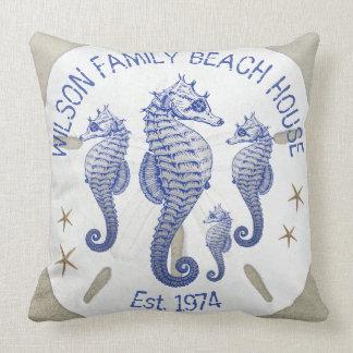 Family Name Beach House Seahorses Cushion