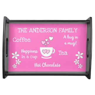 Family name coffee tea hot chocolate pink serving tray