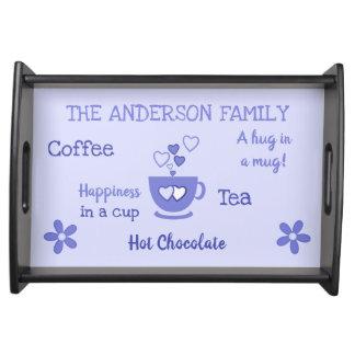 Family name coffee tea hot chocolate purple serving tray