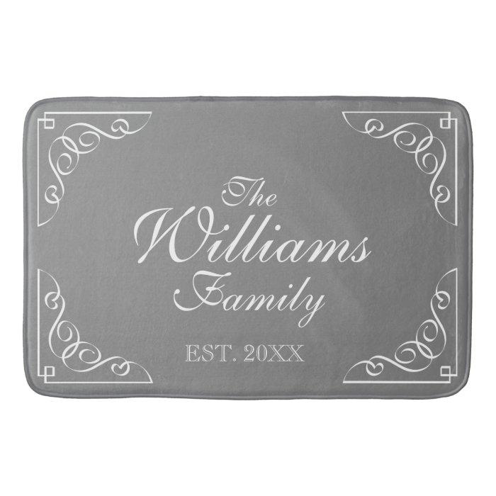 Family Name Est Grey Bath Mat With Elegant Swirls Bath