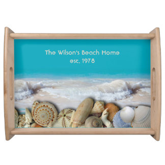 Family Name Est. Tropical Seashells Serving Tray
