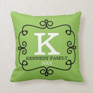 Family Name Monogrammed Lime Green Throw Pillow