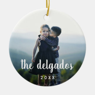 Family Name Overlay | Photo Christmas Ornament