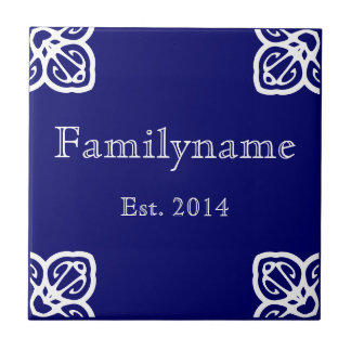 Family Name - Spanish White on Blue Small Square Tile