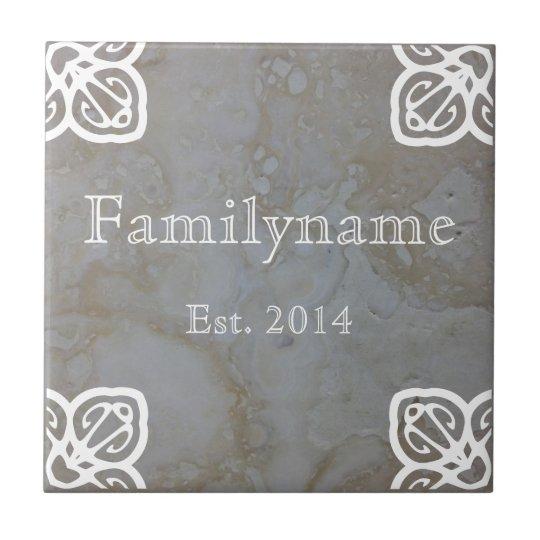 Family Name - Spanish White on Travertine Tile