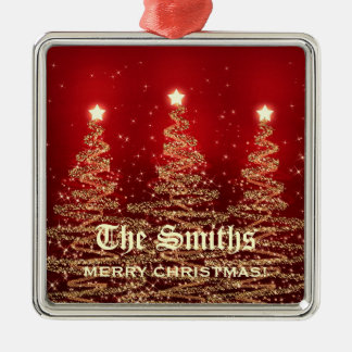 Family Name Sparkling Christmas Trees Red Christmas Ornament