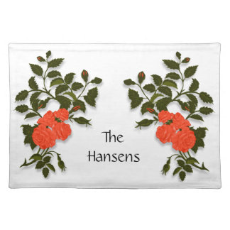 Family Name with Ornamental Orange Roses Placemat
