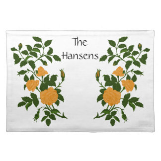 Family Name with Ornamental Yellow Roses Placemat