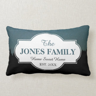 Family New Home Established Year Starry Woods Lumbar Pillow