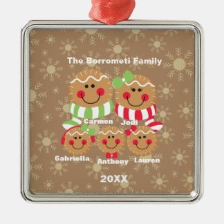 Family of 5 Gingerbread Faces Christmas Ornament