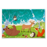 Family of animals in the wood. print