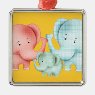 Family Of Elephants Mom Dad And Baby Christmas Ornament