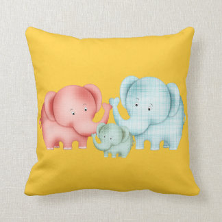 Family Of Elephants Mom Dad And Baby Cushion