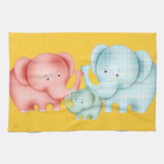 Family Of Elephants Mom Dad And Baby Tea Towel