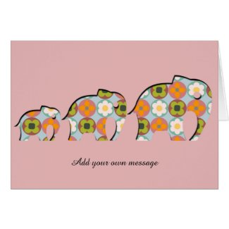 Family of Elephants Papercut Style Floral Motifs