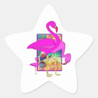 Family of Flamingos Star Sticker