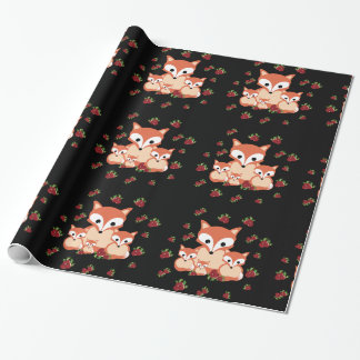 Family of foxes in winter wrapping paper