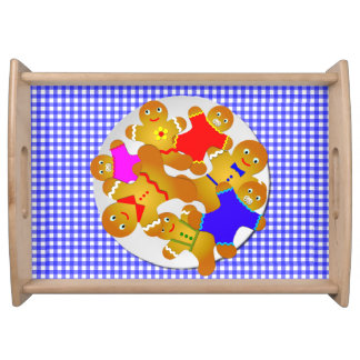 Family of Gingerbread Men, Blue Gingham Background Serving Tray