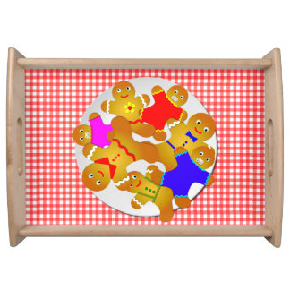 Family of Gingerbread Men, Red Gingham Background Serving Tray