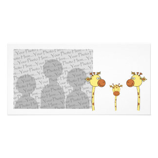 Family of Giraffes Cartoon Picture Card