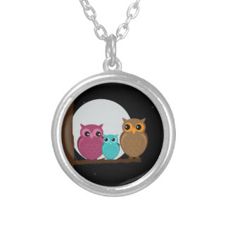 Family of Owls Silver Plated Necklace