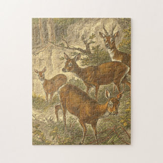 Family of Roe - Deers in a Forest Jigsaw Puzzle