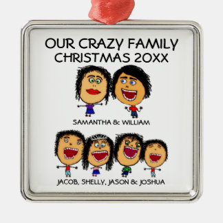 Family of Six Crazy Holiday Ornament