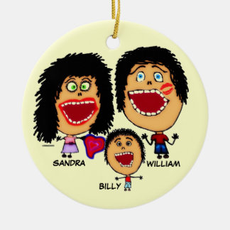 Family of Three Cartoon Christmas Ornament