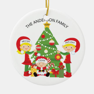 Family of Three Personalized Christmas Ornament