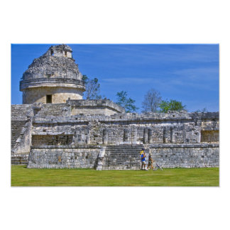 Family of tourists walk past ancient Mayan Photo Print